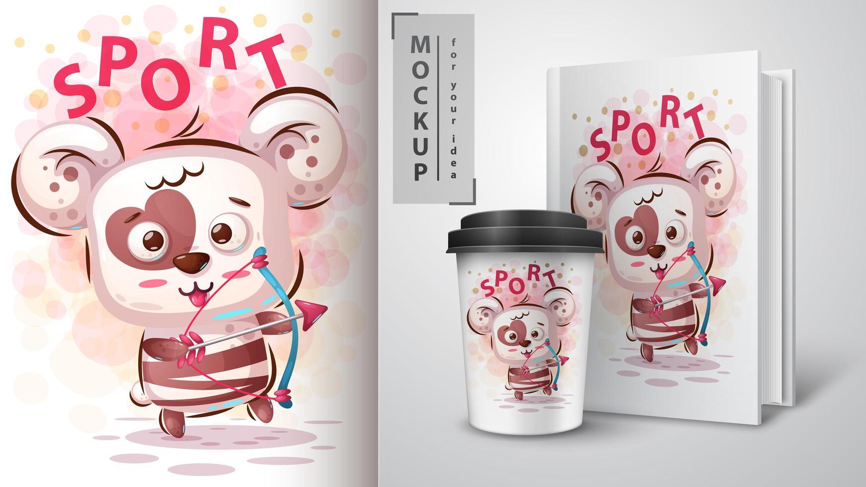 panda björn sport affisch design vektor