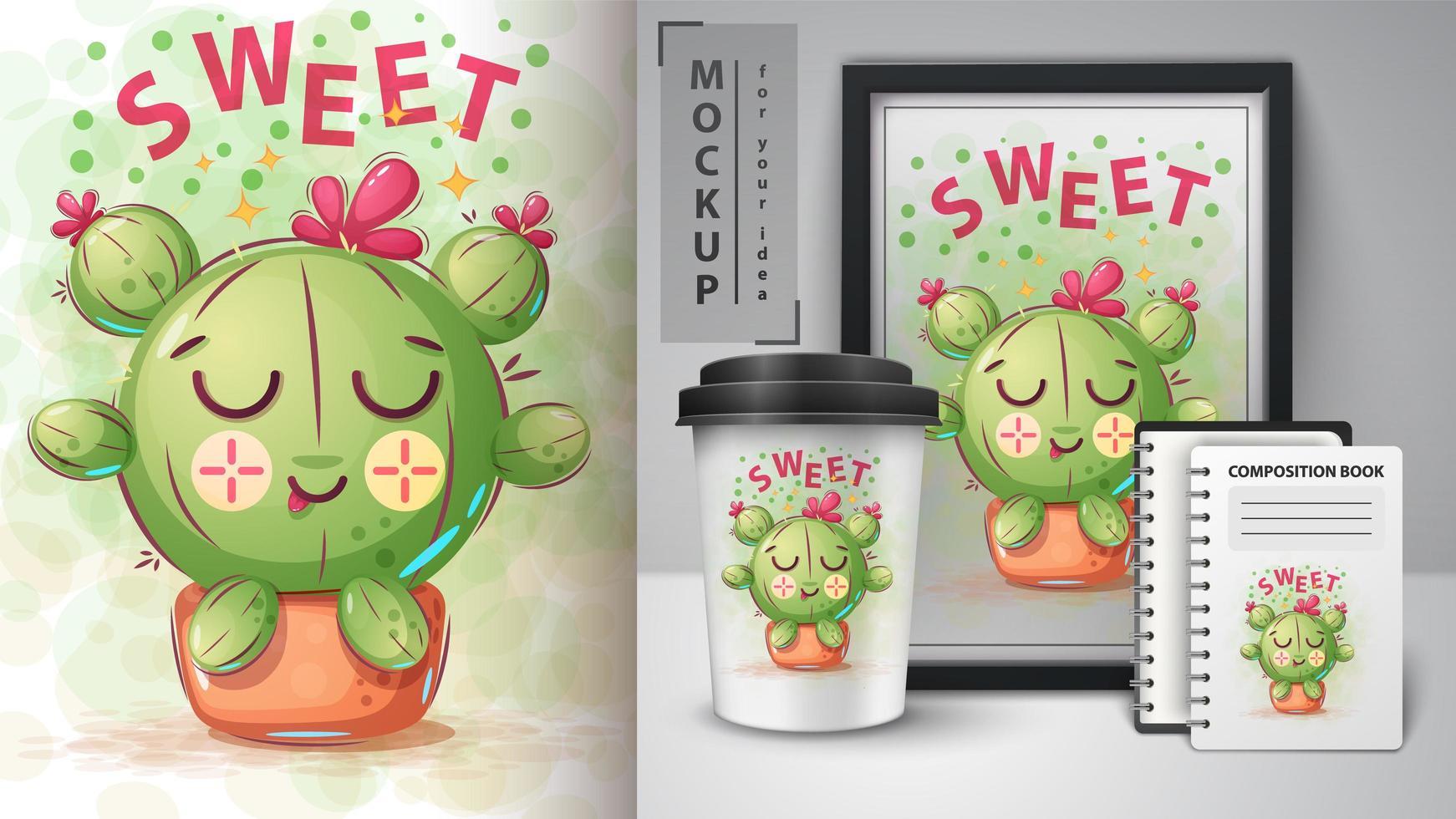 tecknad prinsessa söt kaktus design vektor