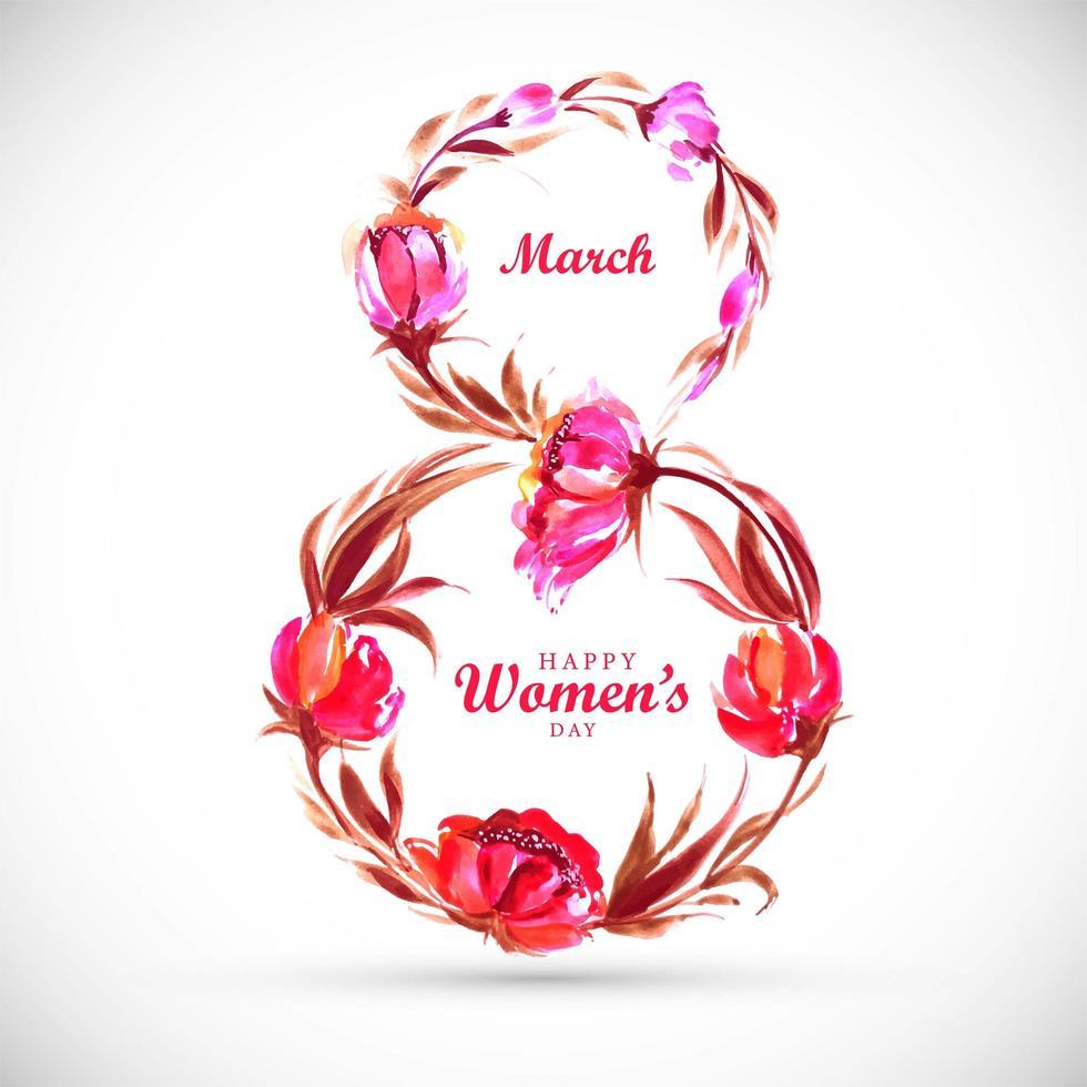 kvinnors dagskort med blommig 8-form vektor