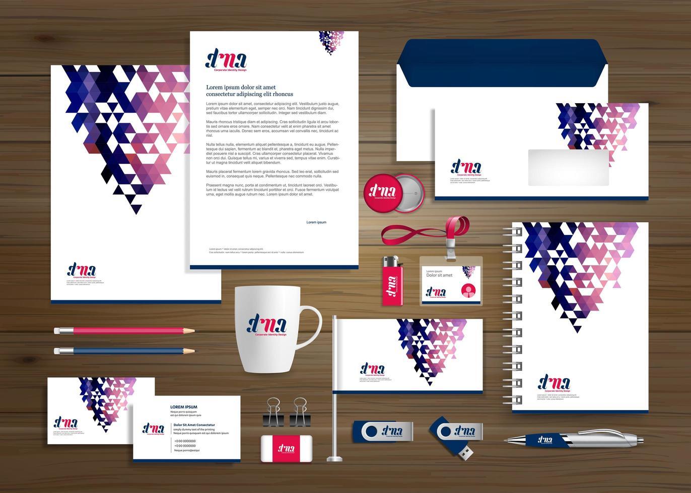 färgglada triangel design affärsidentitet och marknadsföringsuppsättning vektor