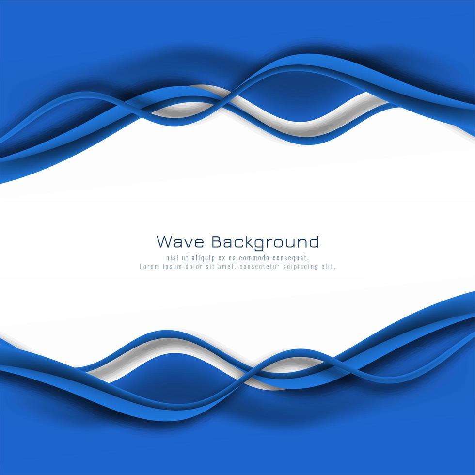 snygg blå våg ram kort vektor