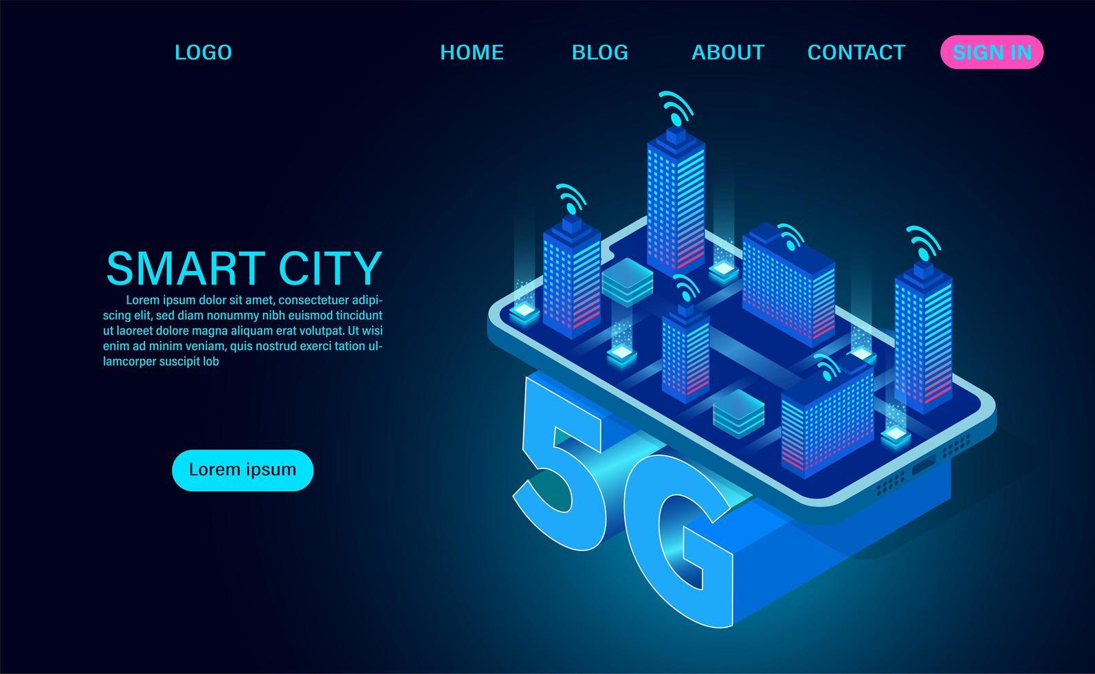 smart stadskoncept på 5g symbol vektor