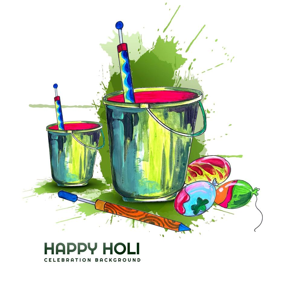 holi festival gratulationskort med hinkar och ballonger vektor