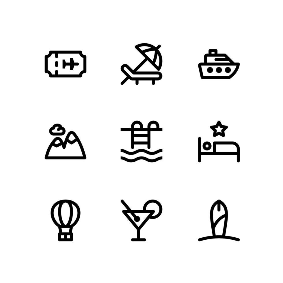 reselinjeikoner inklusive biljett, strandstol och mer vektor