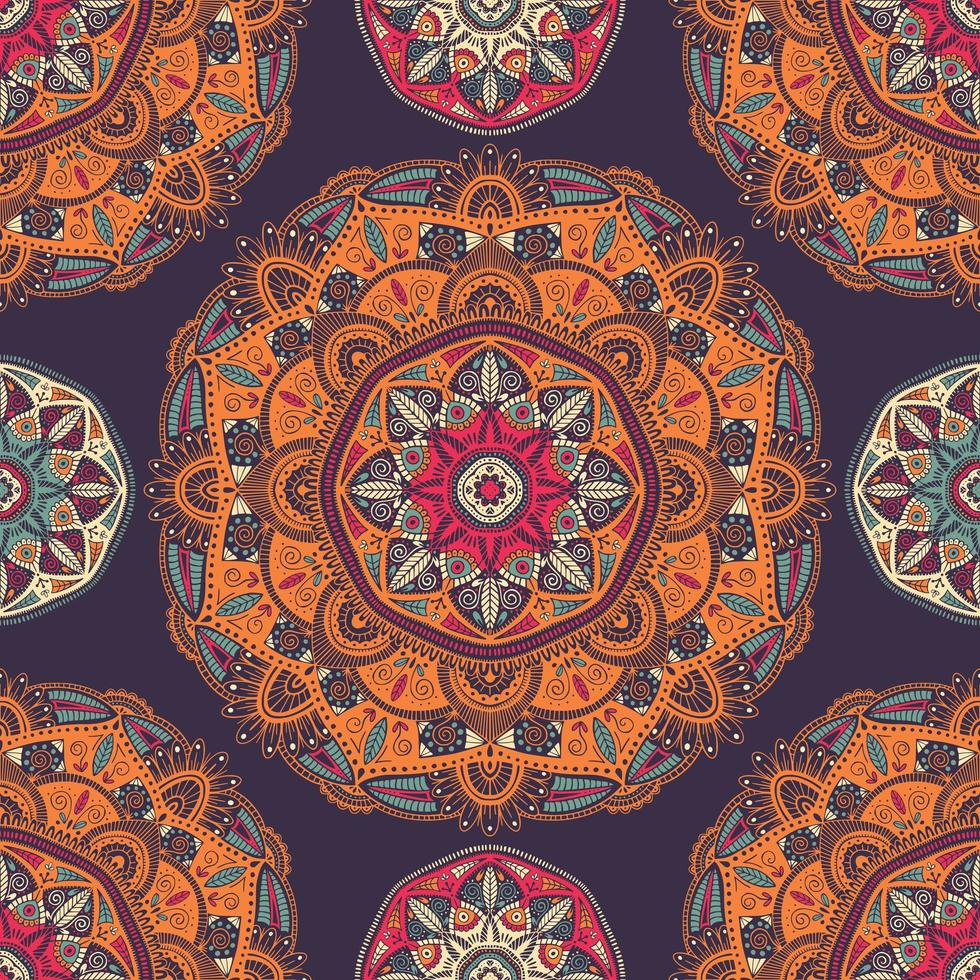 nahtloses Muster mit dekorativen floralen ethnischen Mandalas vektor