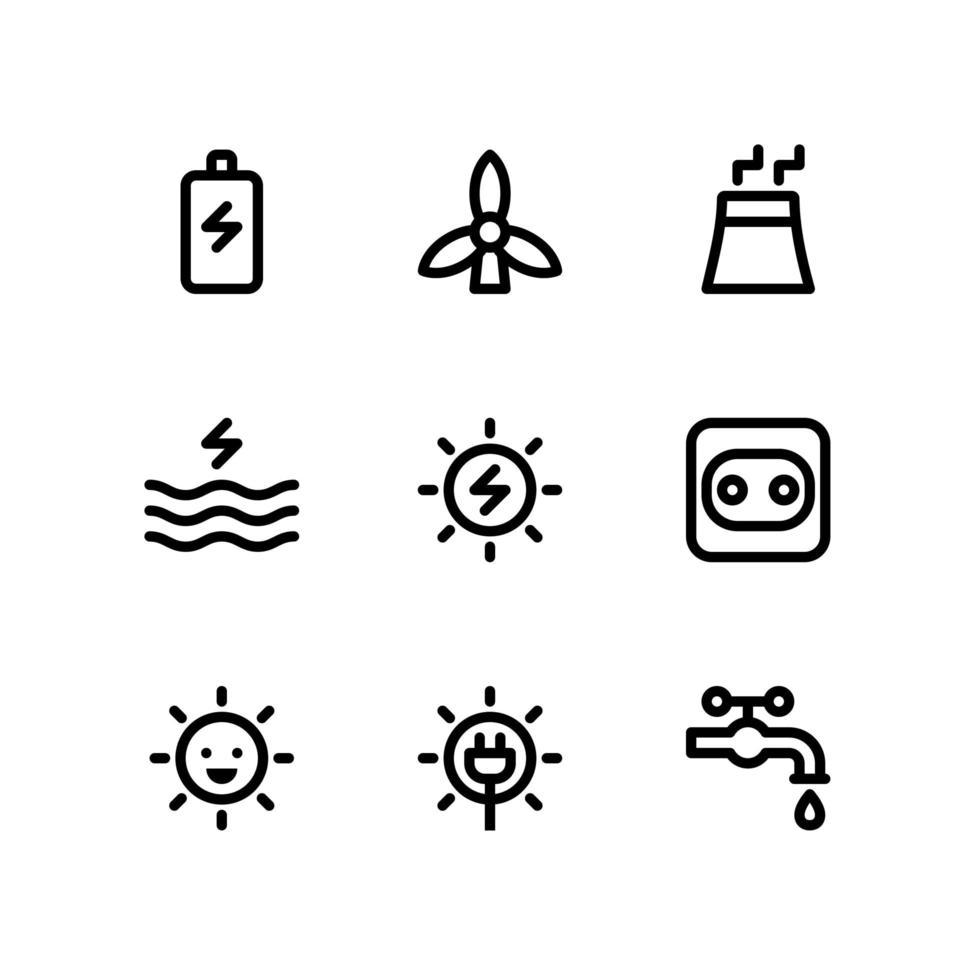 energilinjeikoner inklusive batteriladdning, luftturbin och mer vektor