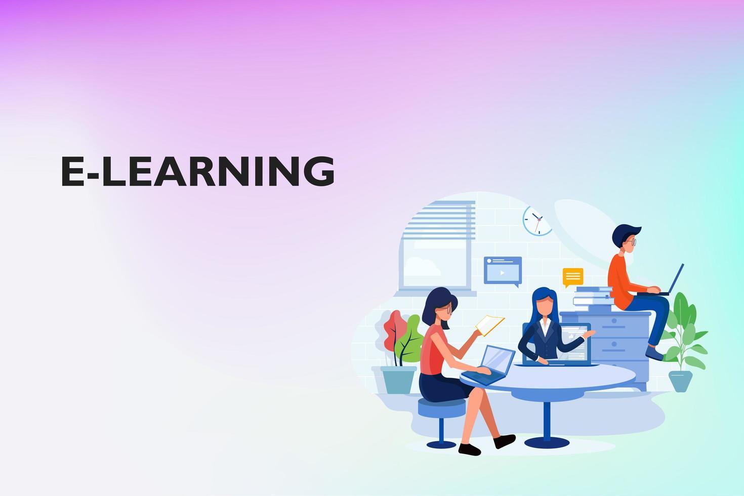 online-studieprocess på webbplatsen vektor
