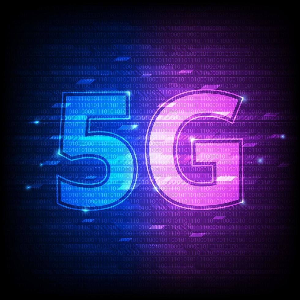 5g rosa och blå digital binär teknik vektor