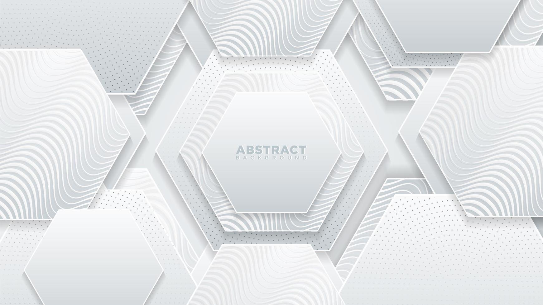 vita sexhörningar strukturerade med vågiga mönster vektor