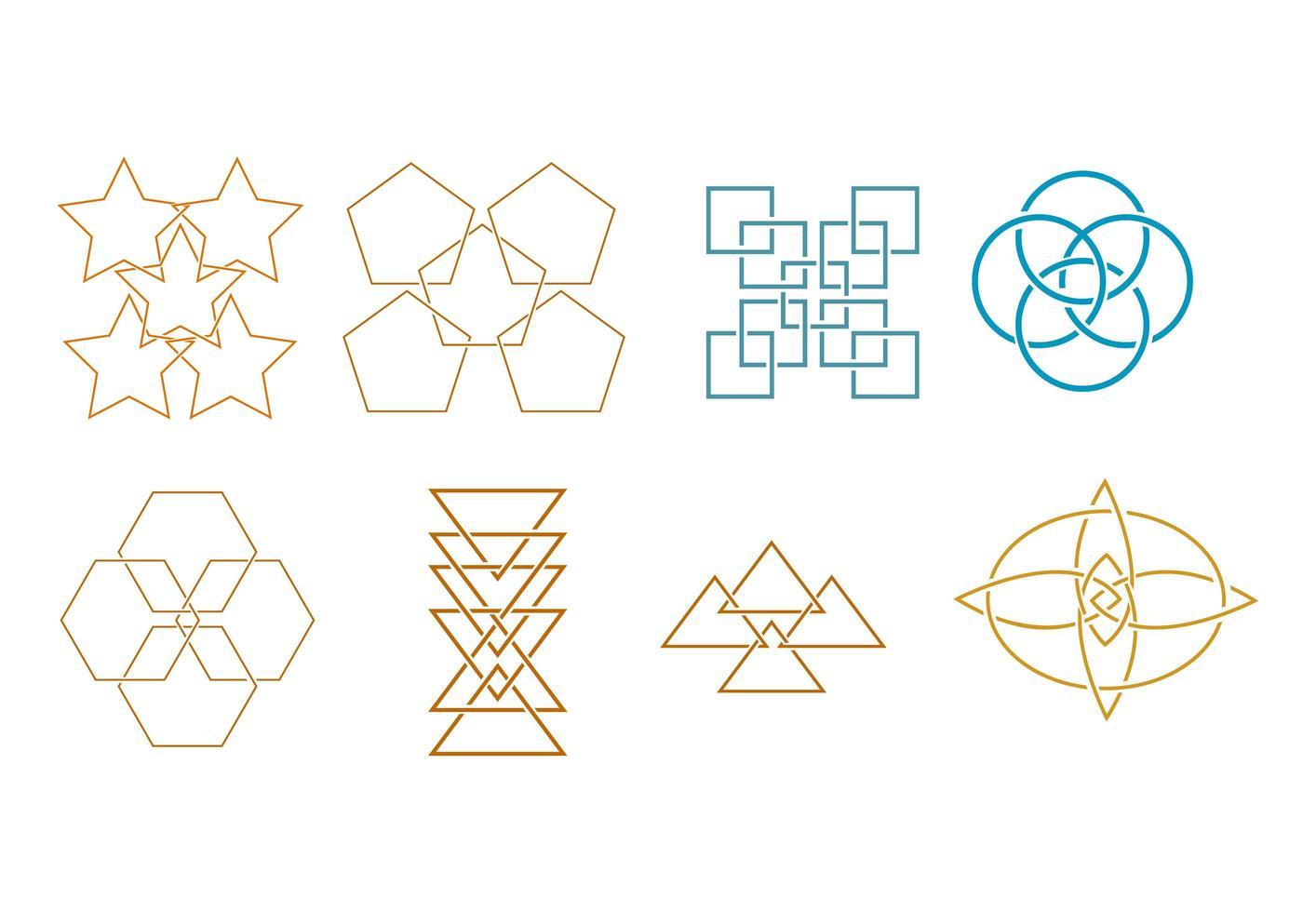 uppsättning abstrakta form ikonelement vektor