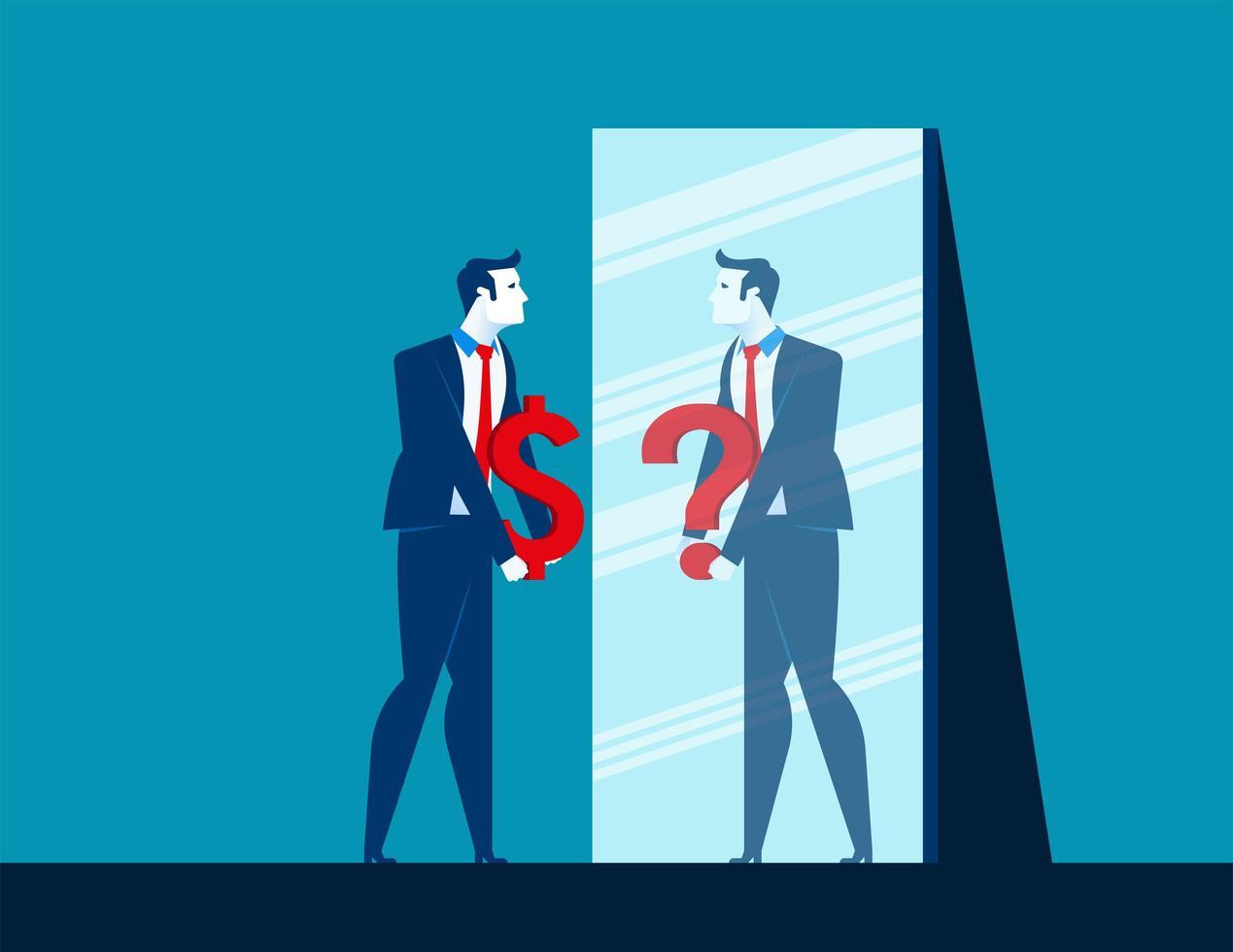 affärsman ser spegel med dollartecken vektor