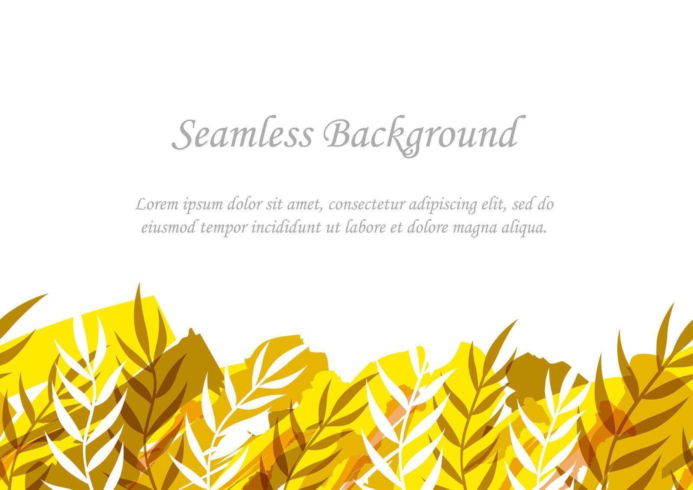 sömlös gul och brun botanisk bakgrund med textutrymme vektor