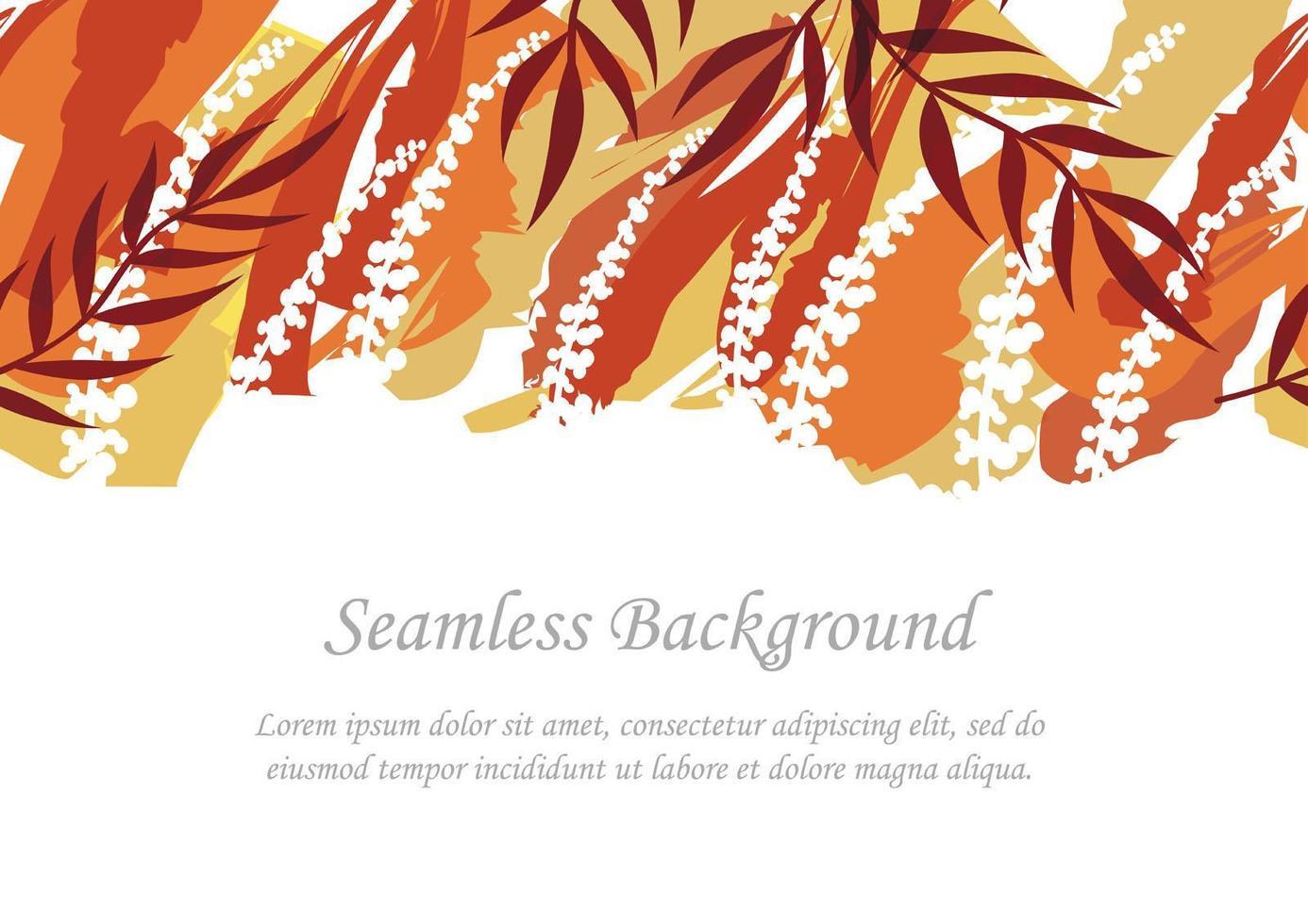 sömlös röd och orange botanisk bakgrund med textutrymme vektor