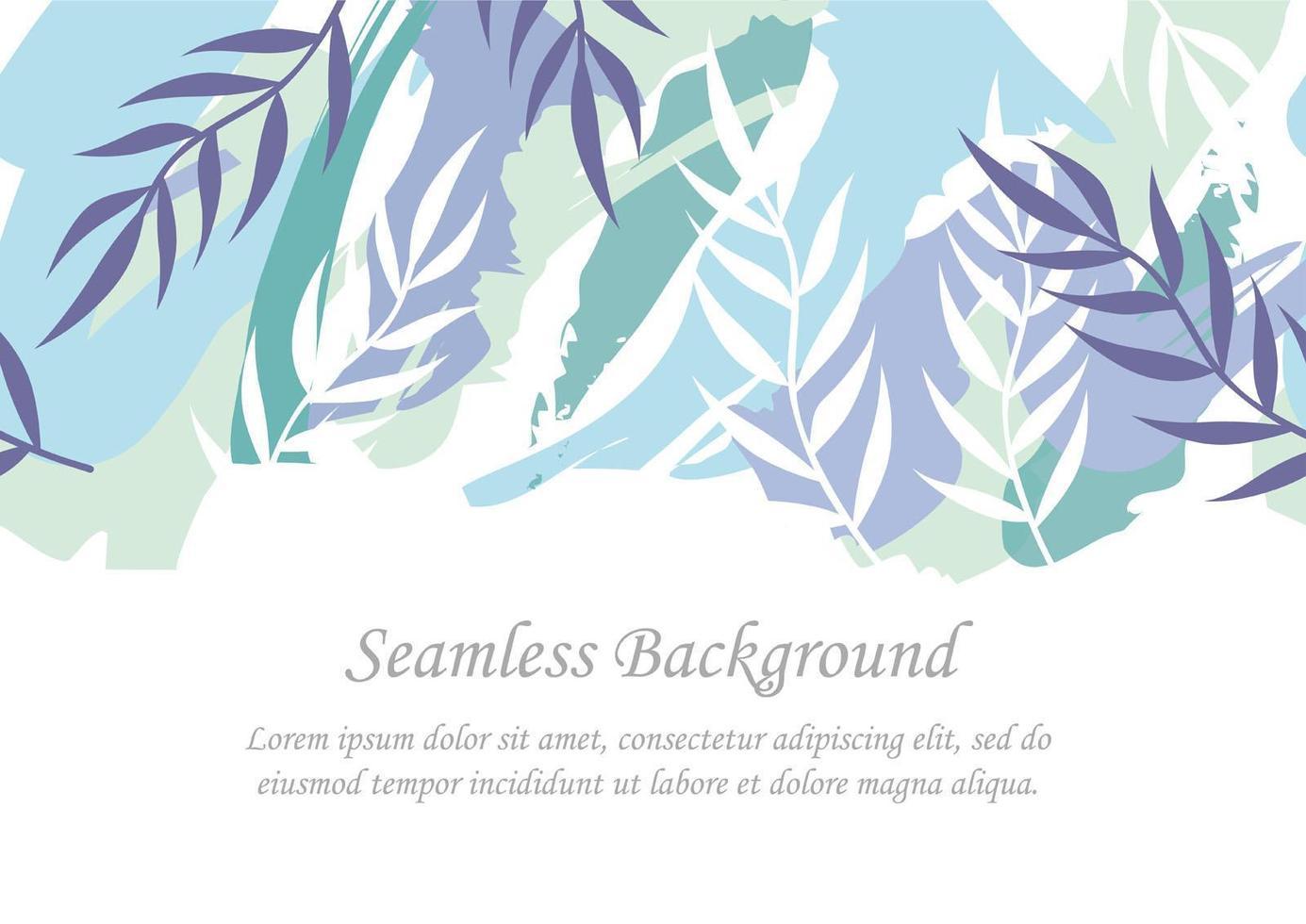 sömlös blå botanisk bakgrund med textutrymme vektor