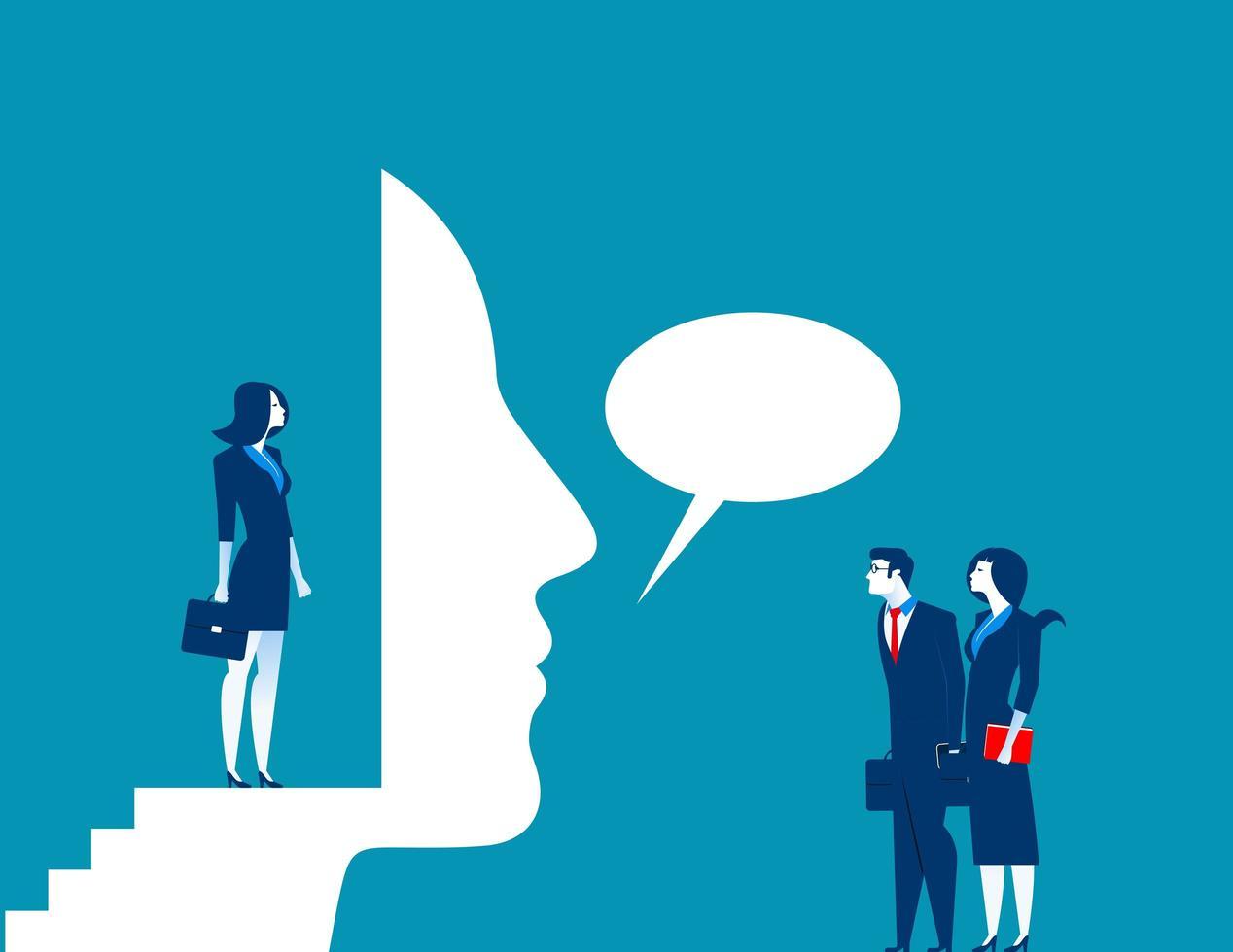 affärskvinna prata genom mask vektor