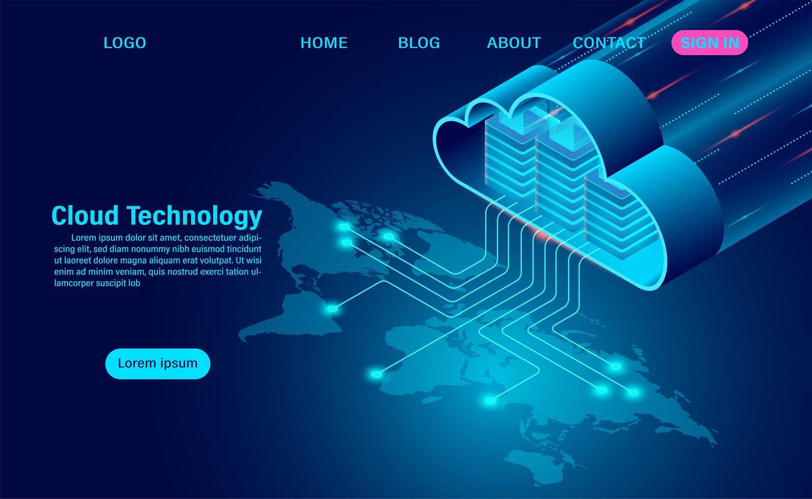 moln datalagring med databehandling vektor