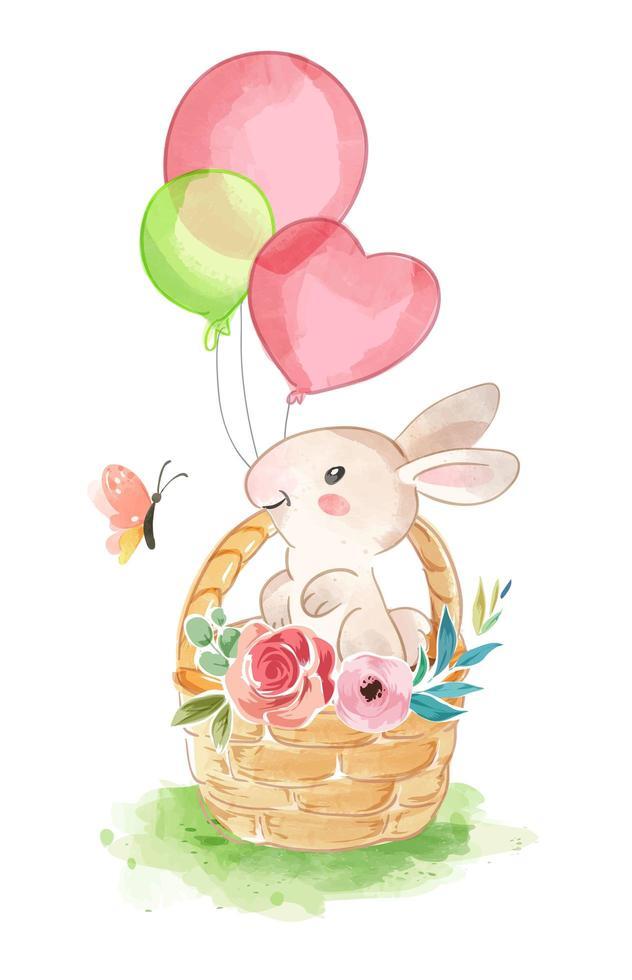 söt kanin i korg med ballonger vektor