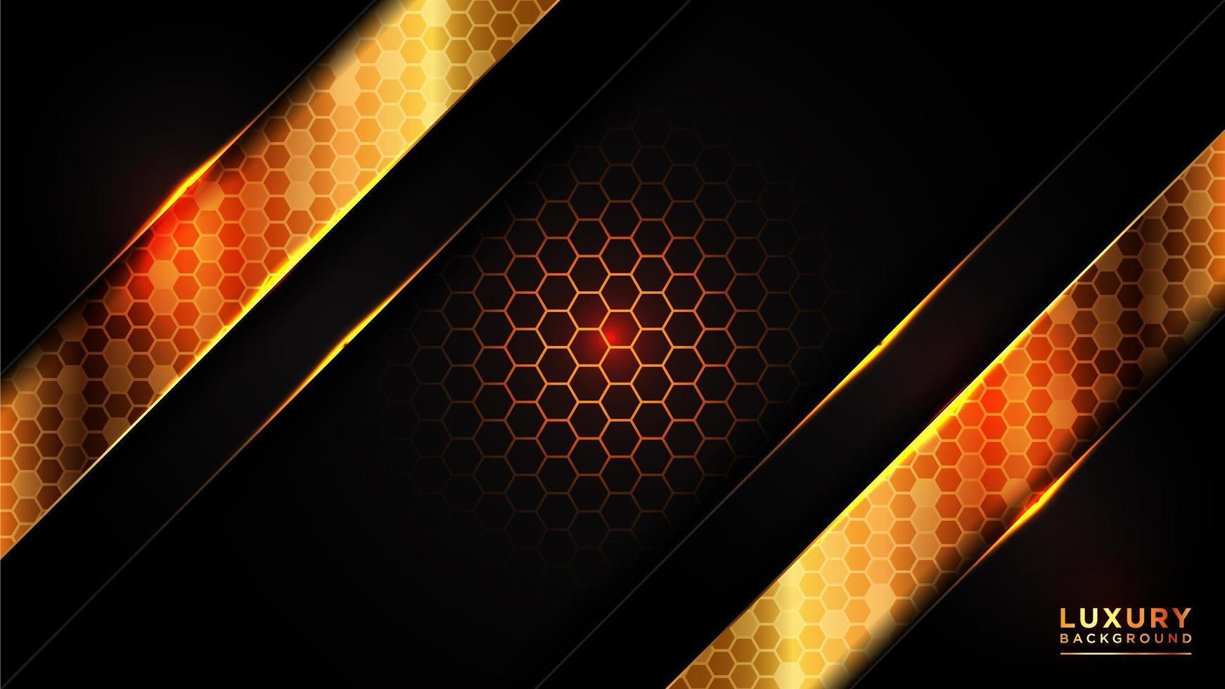 glödande guld sexkantigt mönster med mörka överlappande lager vektor