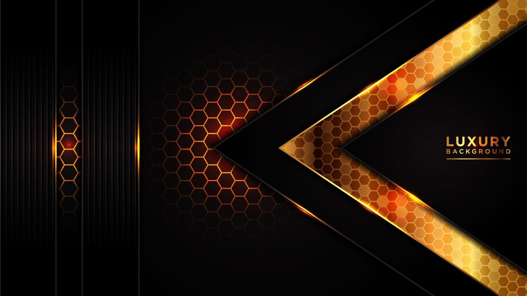 mörk överlappande hexagon mesh triangel guld linje design vektor
