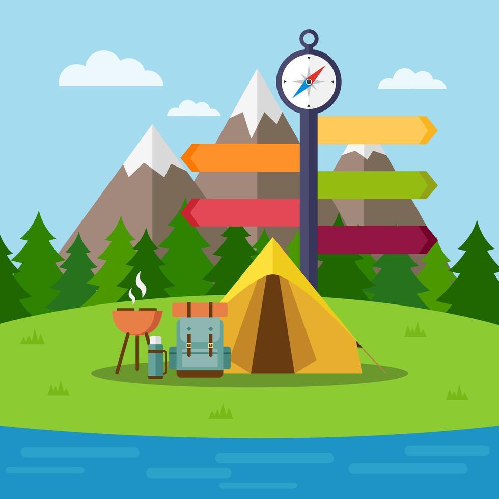 campingplats med tält, ryggsäck och grill vektor