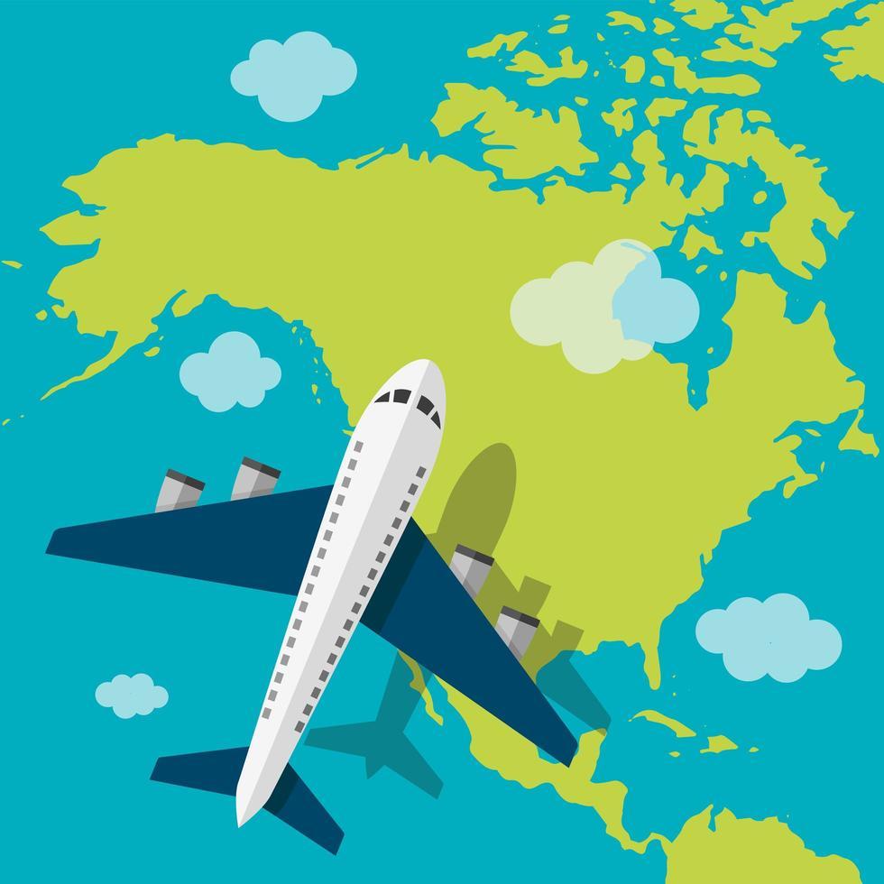 flygplan som flyger över Amerika vektor