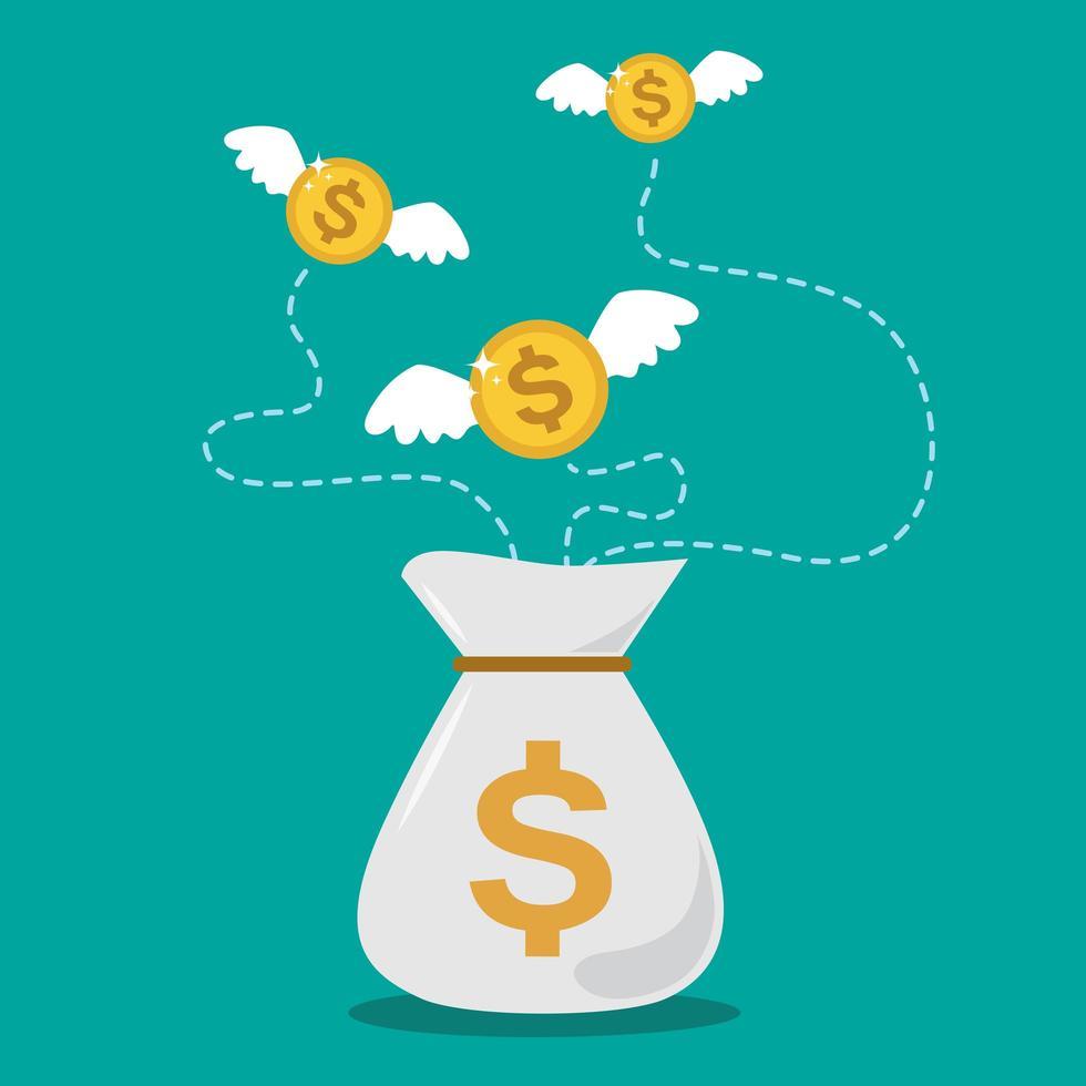 dollarmynt som flyger ur pengarsäcken vektor