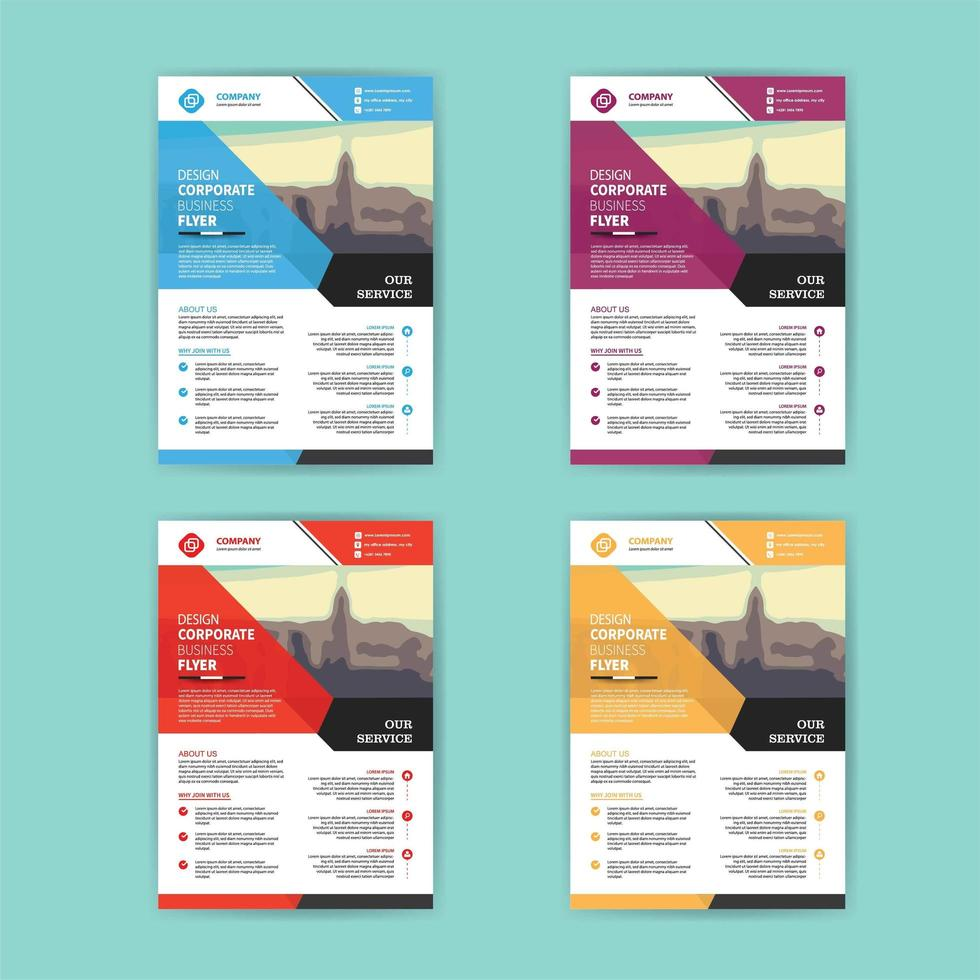 Business-Flyer-Schablonenset mit bunten abgewinkelten Formen vektor