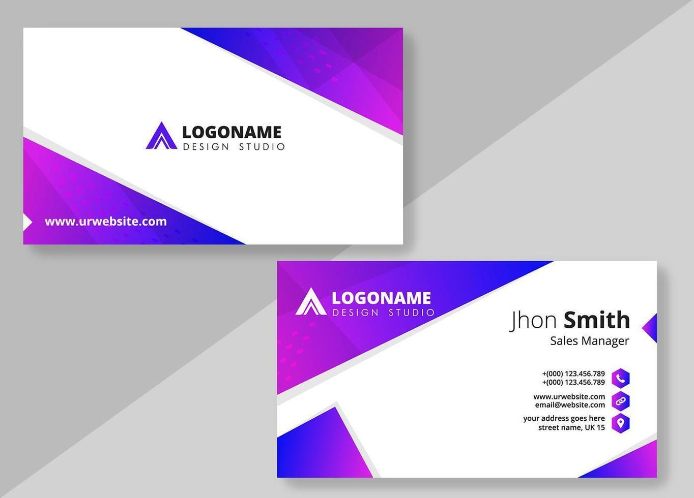 lila blå lutning visitkort formgivningsmall vektor