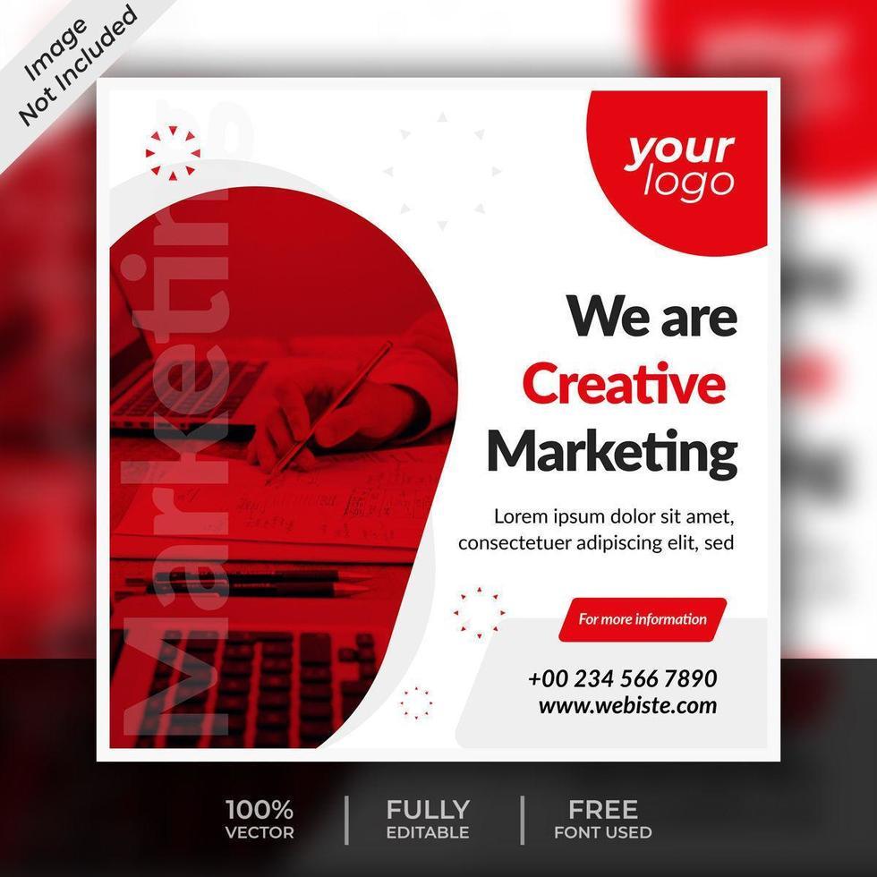 företag sociala medier röd fyrkant post mall design vektor