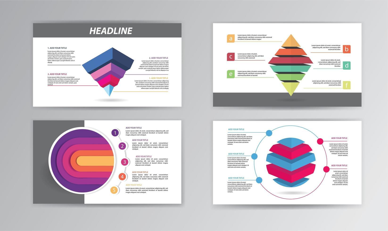 Infografik Timeline-Vorlage mit bunten gestapelten Formen vektor