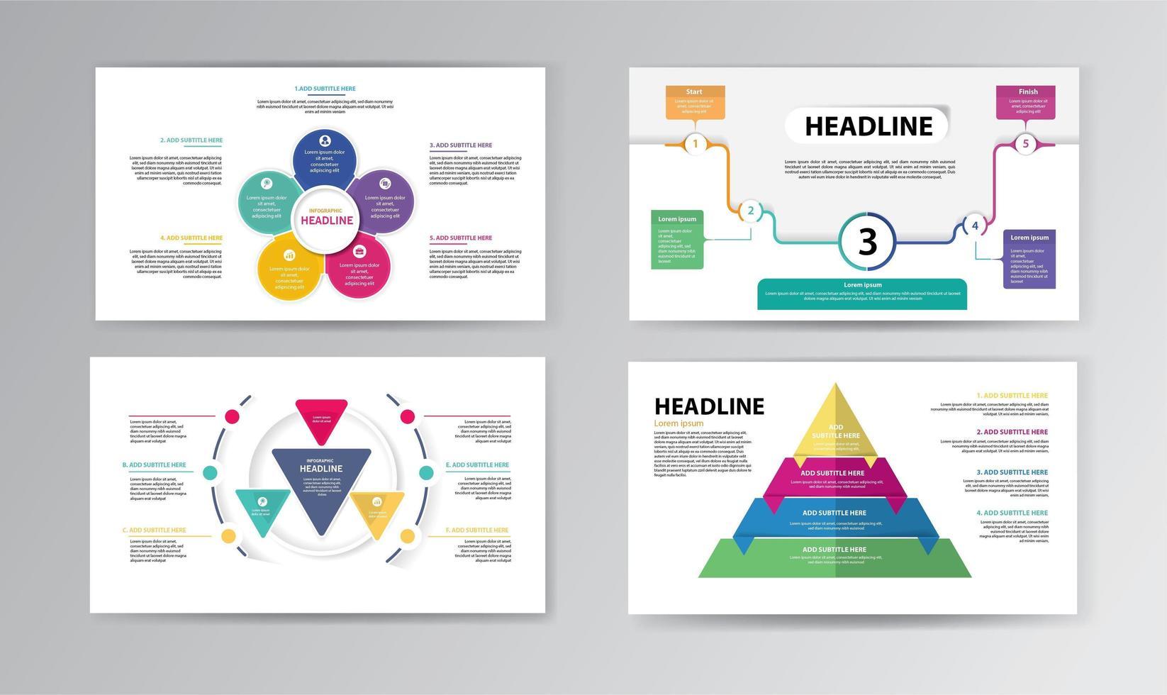 Infografik Timeline-Vorlage mit bunten Formen vektor