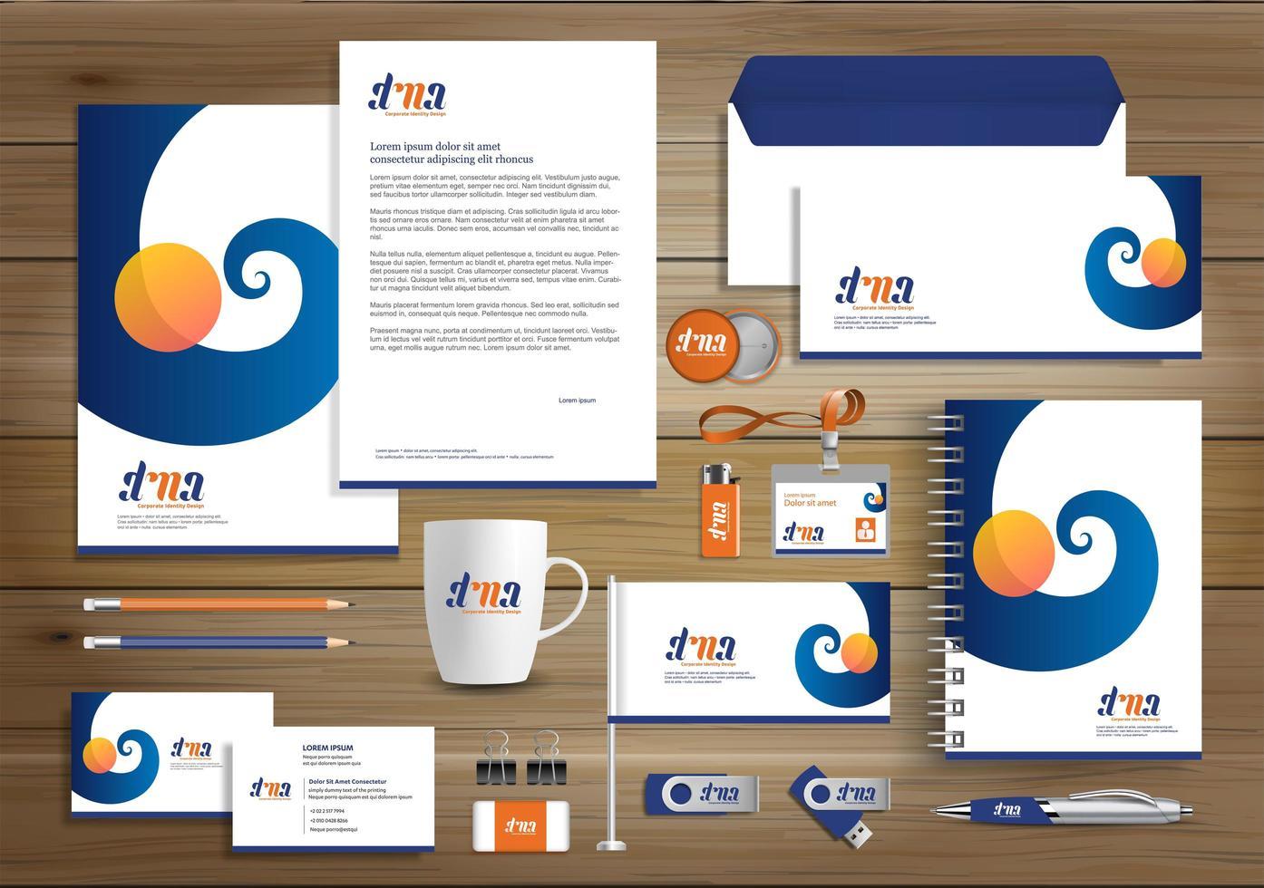 orange och blå virvelidentitet och reklamartiklar vektor