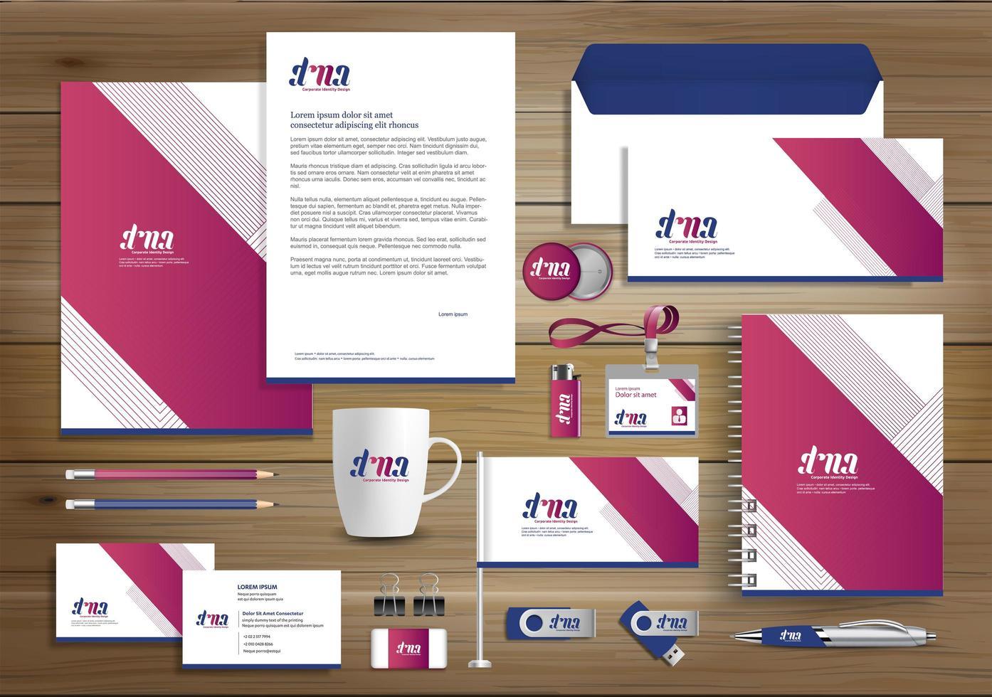 rosa vinkel designidentitet och reklamartiklar vektor