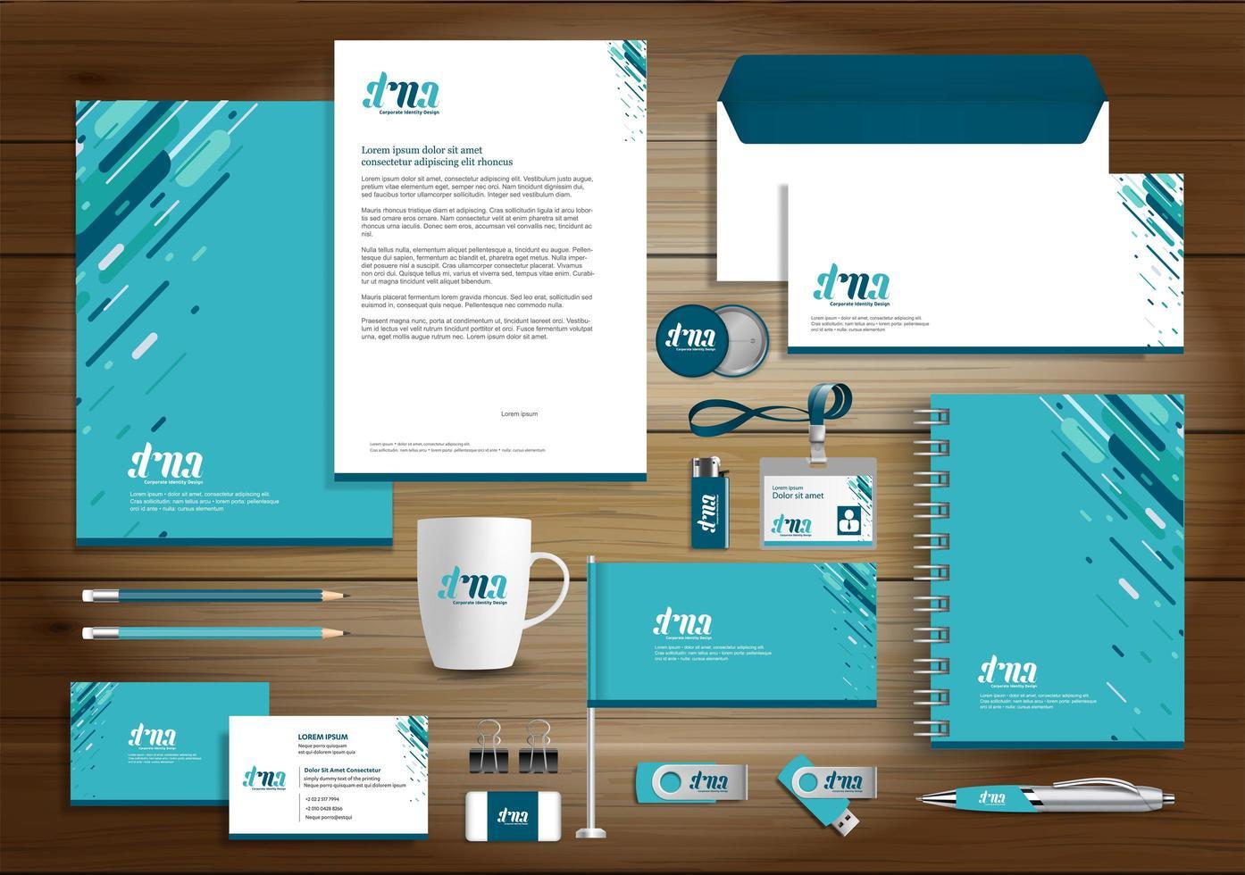 blå identitet med flera linjer och reklamartiklar vektor
