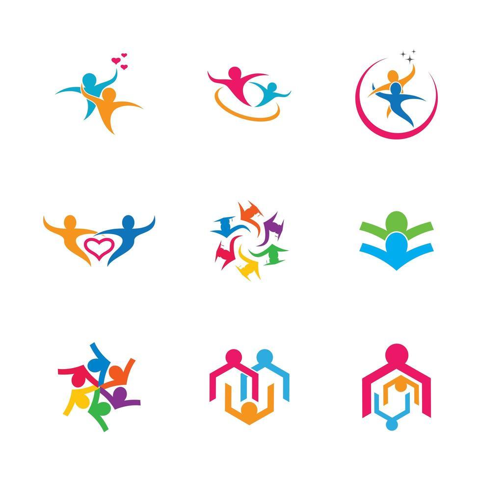 Menschen in verschiedenen Posen Business Teamwork Icon Set vektor