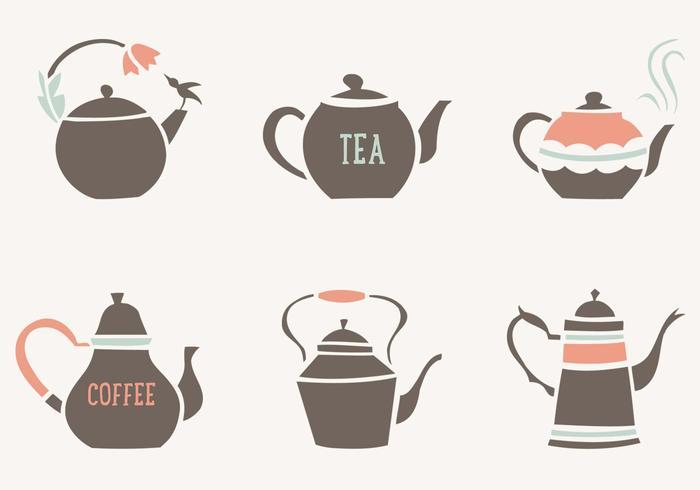 Dekorativ te och kaffe krukor vektor samling