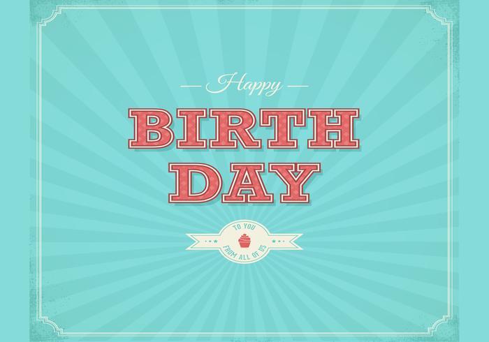 Retro Grattis på födelsedagen Typografisk bakgrund Vector