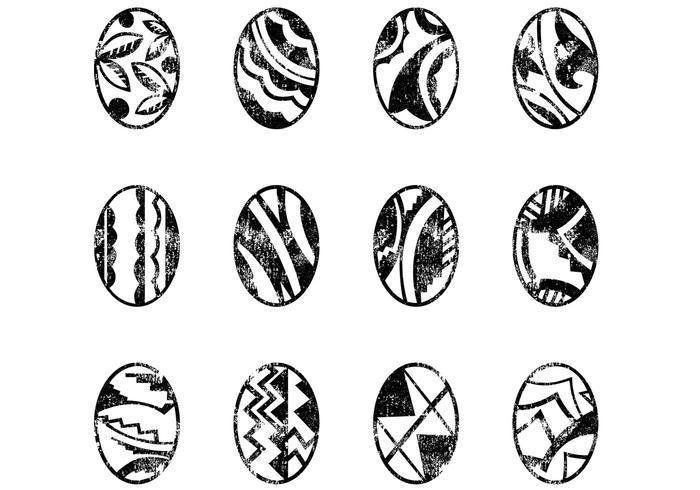 Decorative Grungy Easter Eggs Vectors