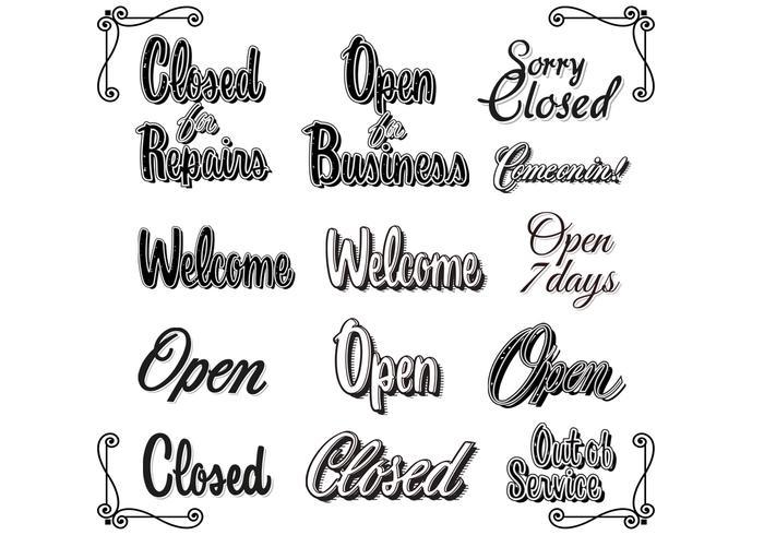Retro Weinlese öffnen geschlossene Zeichen-Vektoren vektor