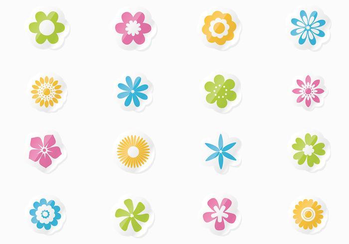 Frisk blom klistermärke vektor uppsättning