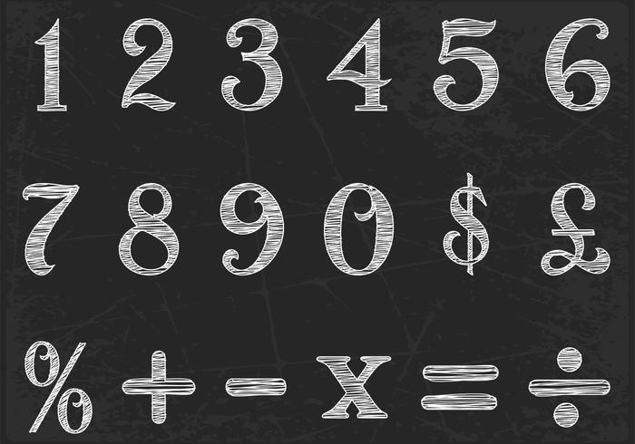 Kreide gezeichnet Zahlen Vektor Set