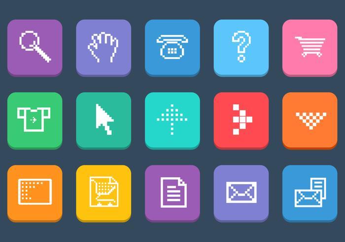 Verschiedene Pixel Web Icons Vector Set
