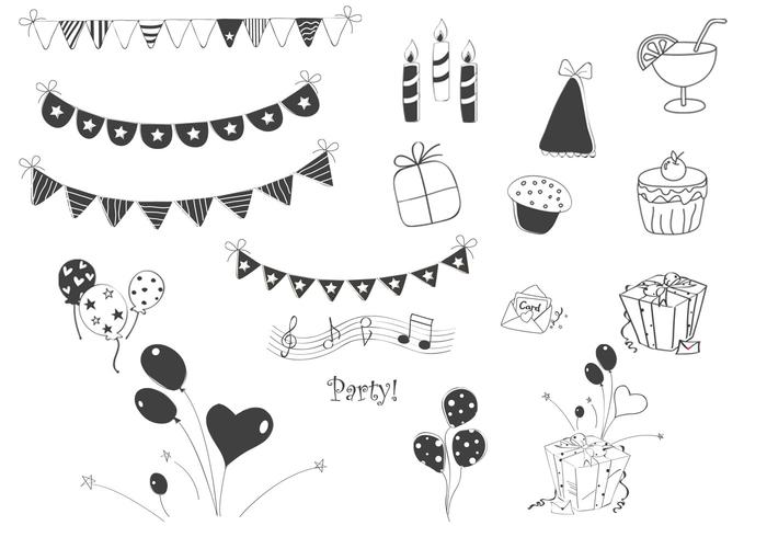 doodle party element vektor uppsättning