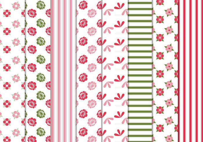 Blommiga ränder vektor mönster