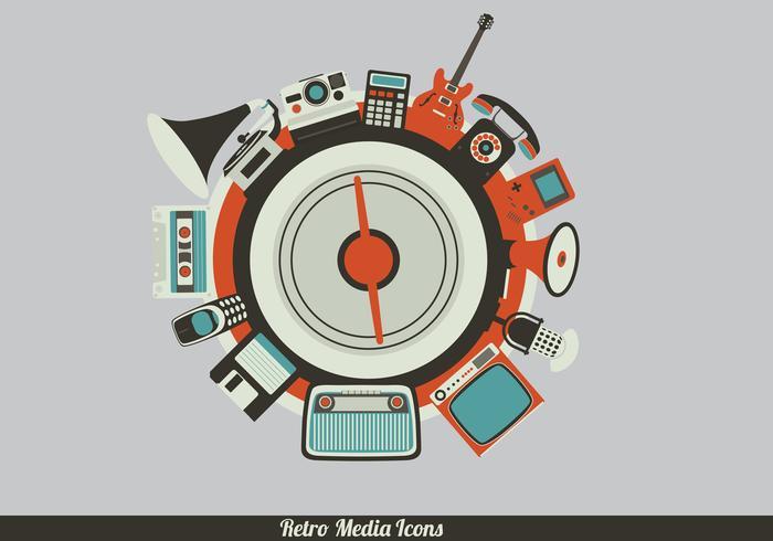 Retro media ikon vektorer