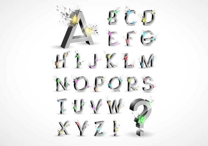 3d explosion alfabet vektor uppsättning