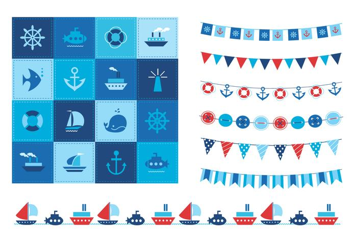 Summertime Ocean Icons und Buntings Vector Set