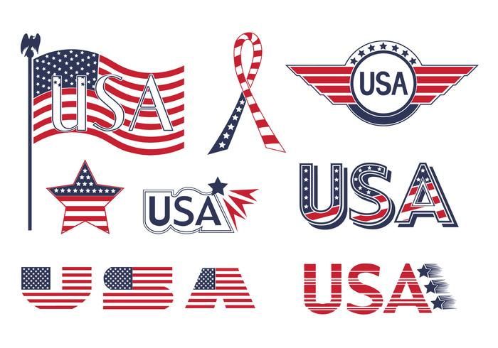 USA Flaggelement Vector Collection