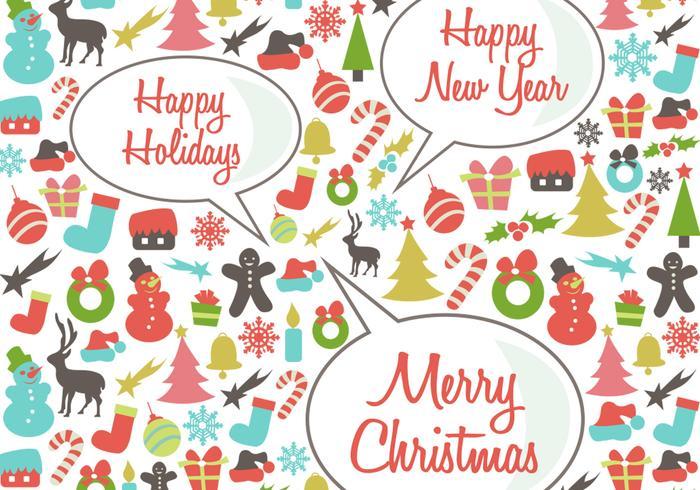 Retro Happy Holidays Vector Bakgrund