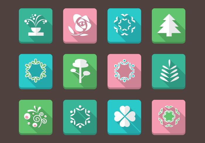 Blommig ikoner vektor samling